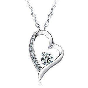 Jewelry - 2 Carats round diamond heart pendant solid gold je
